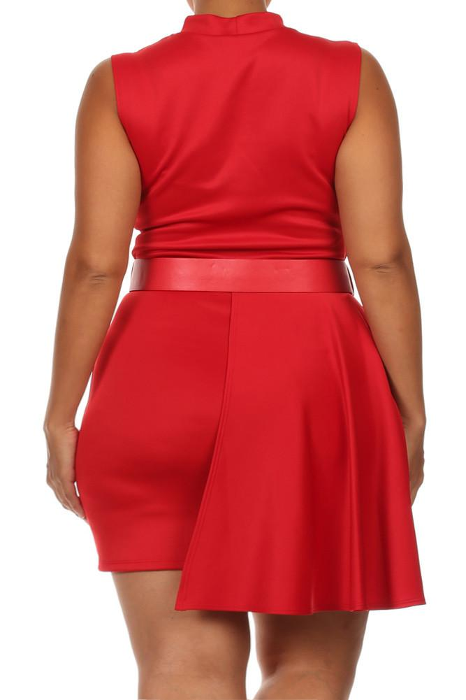Plus Size Forever Young Cut Out Neckline Red Dress