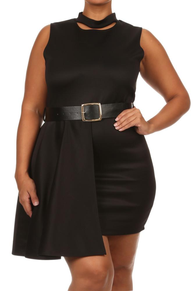 897705c734a50 Plus Size Forever Young Cut Out Neckline Black Dress
