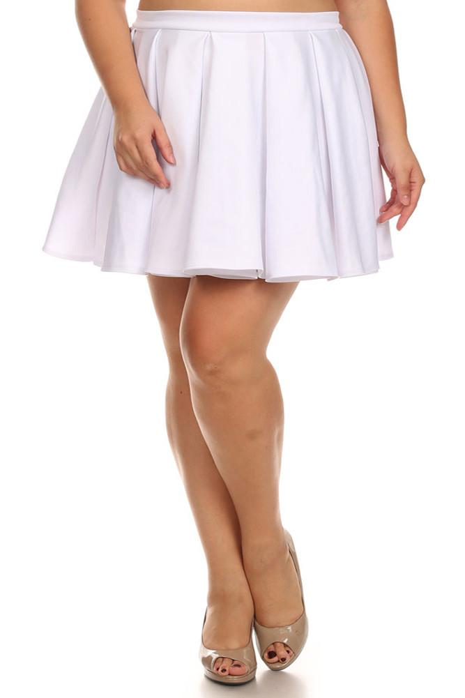 Plus Size Flirty White Skater Skirt