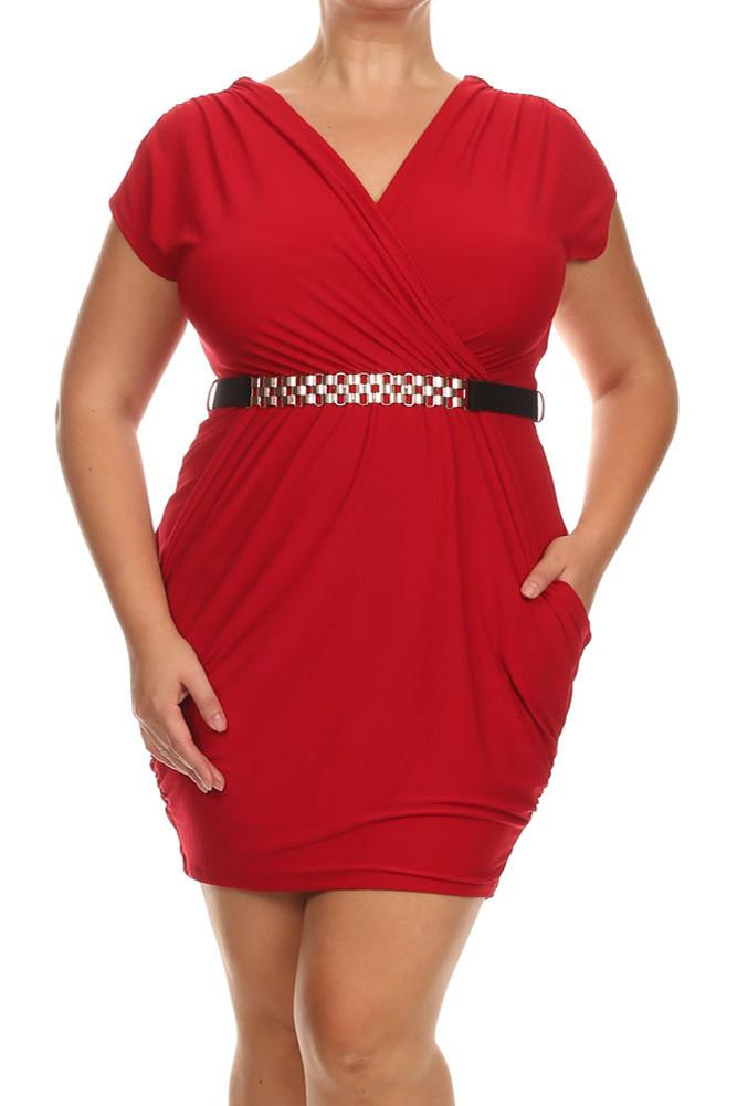Plus Size Captivating Ruched Belted Red Dress