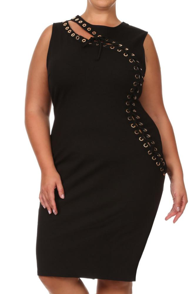 Plus Size Sexy Asymmetrical Lace Up Dress
