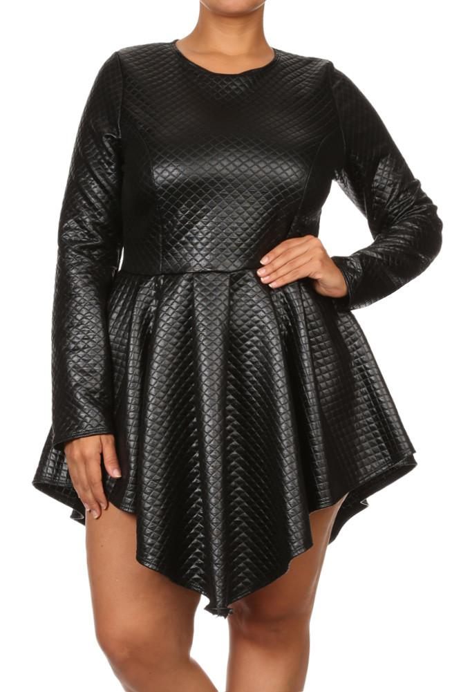 Plus Size Diamond Gal Faux Leather Skater Dress 1 Slayboo