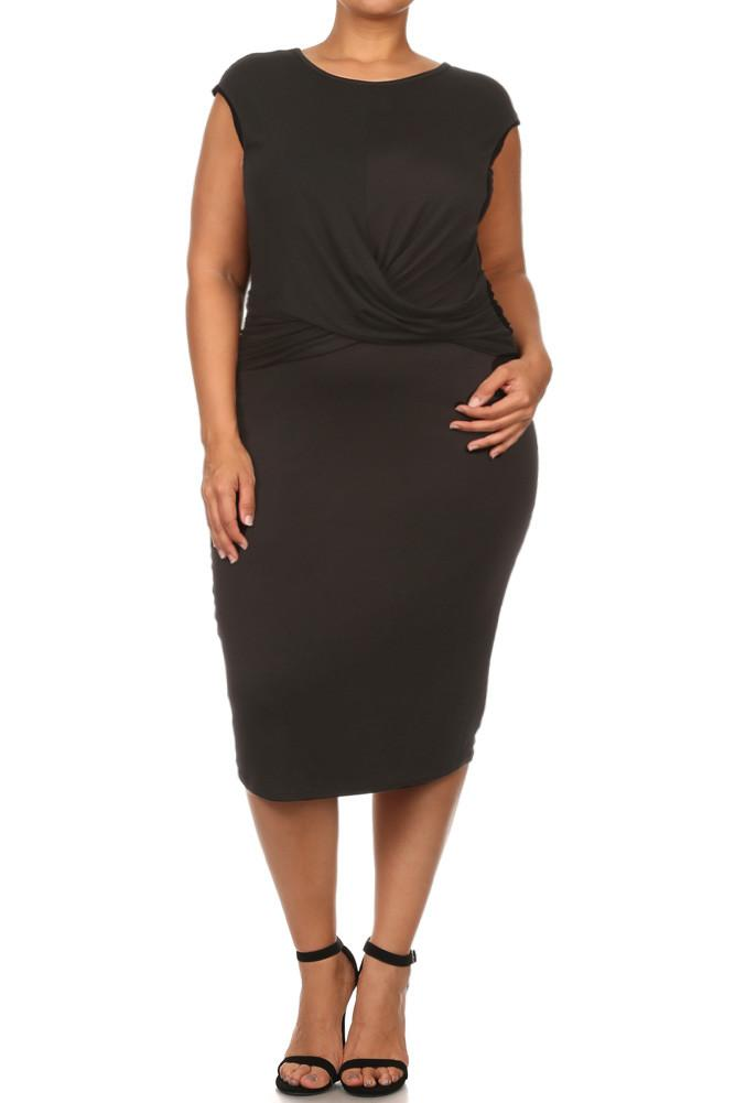 Plus Size Charming Cross Over Front Midi Dress