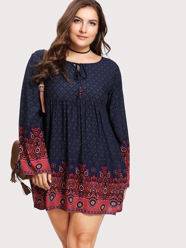 Plus Size Tie Neck Ornate Print Dress