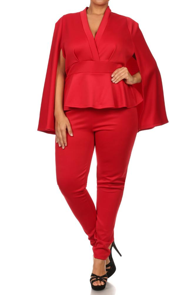 Plus Size Chic Cape Peplum Jumpsuit