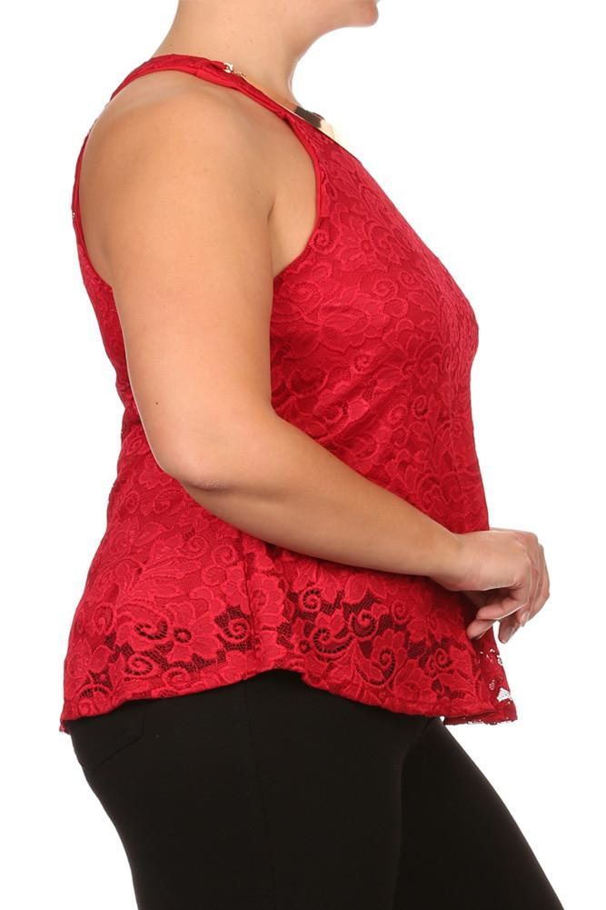 Plus Size Floral Romance Gold Neckline Lace Top