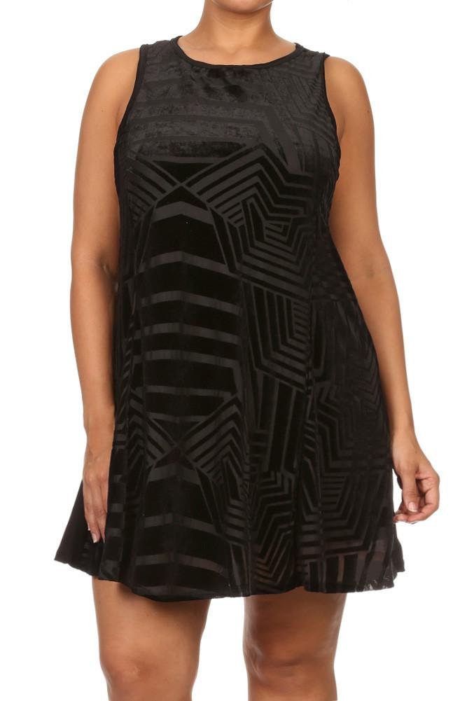 Plus Size Chic Geometric Suede A line Dress
