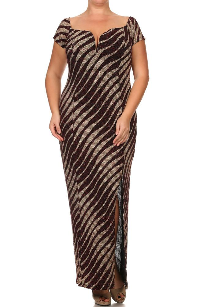 Plus Size Born To Shine Striped Slit Maxi Dress