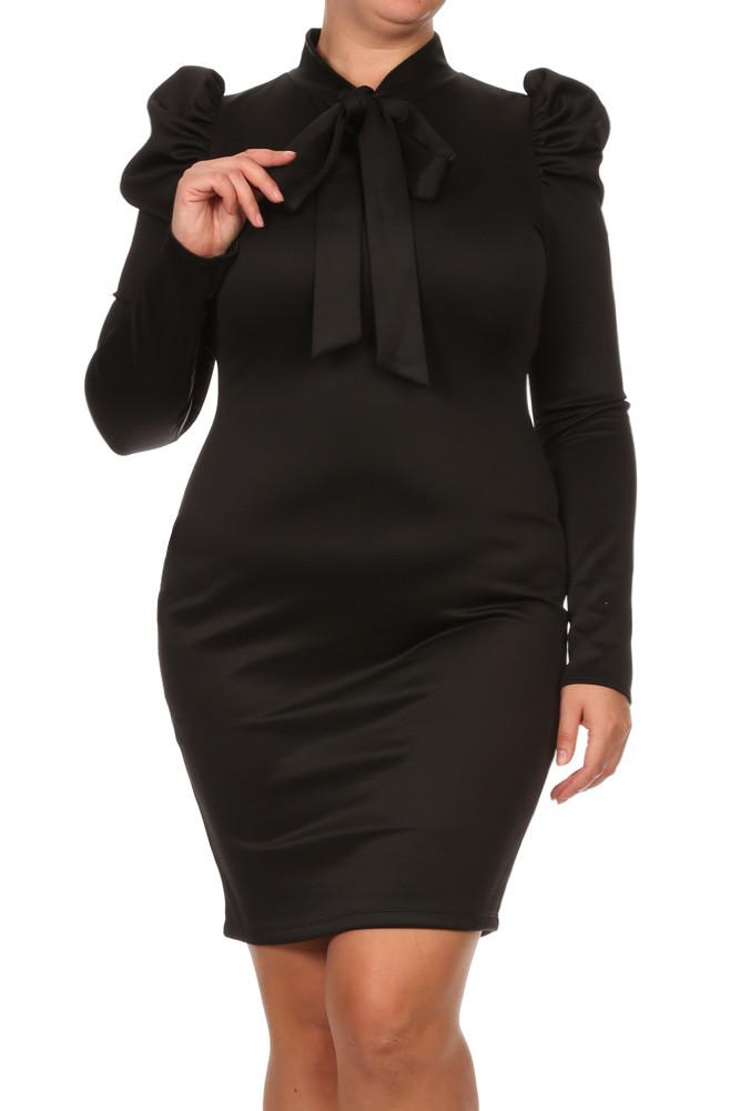 Plus Size Bow Ruffle Shoulder Long Sleeve Dress