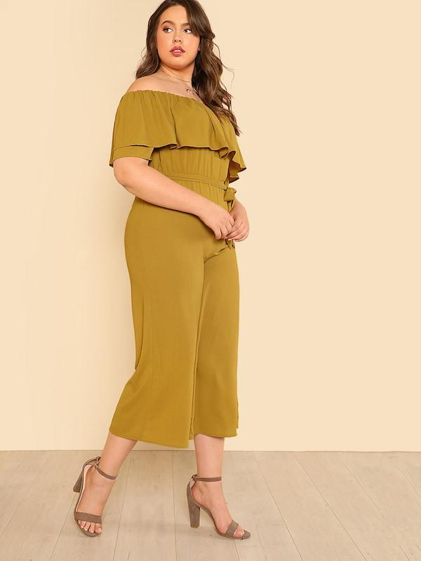 Plus Self Belted Flounce Off Shoulder Culotte Jumpsuit