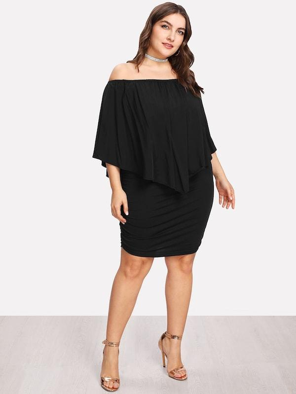 Plus Size Bardot Ruched Detail Ruffle Dress