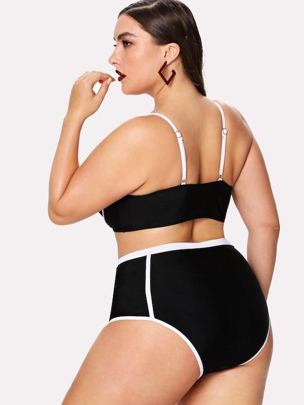 Plus Size Harness Contrast Piping Top With High Waist Bikini