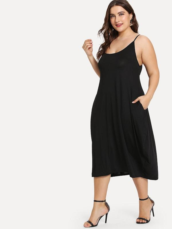 Plus Size Hidden Pocket Solid Cami Dress