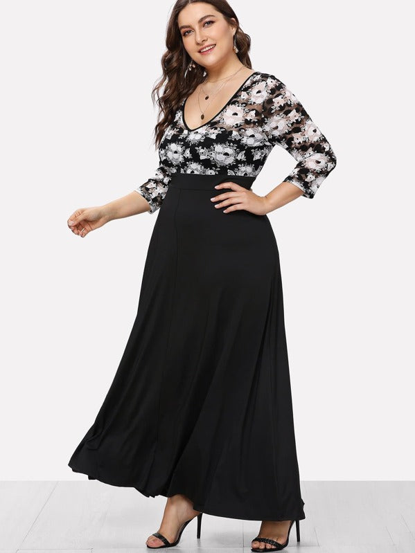 Plus Size Scoop Neck Floral Print Dress