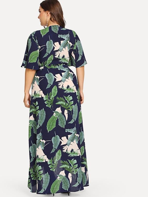 Plus Size Knot Front Cutout Midriff Tropical Dress
