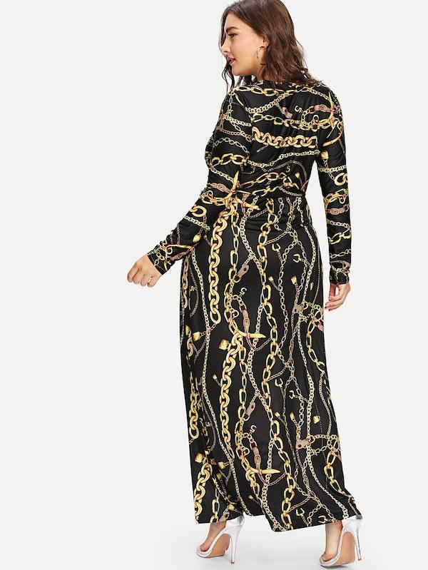 Plus Size Digital Print Plunging Gown Dress