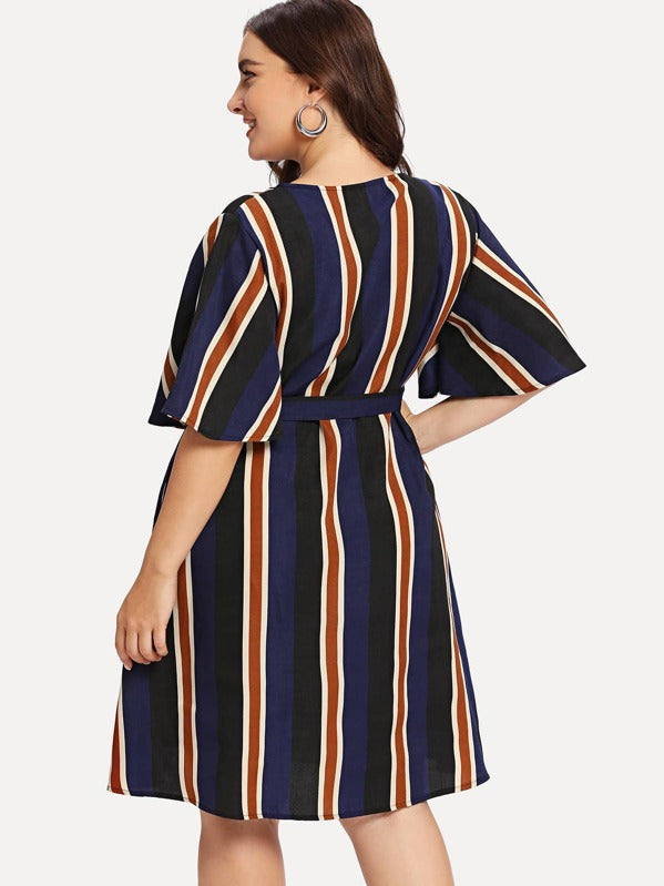 Plus Size Block-Striped Angel Sleeve Wrap Dress
