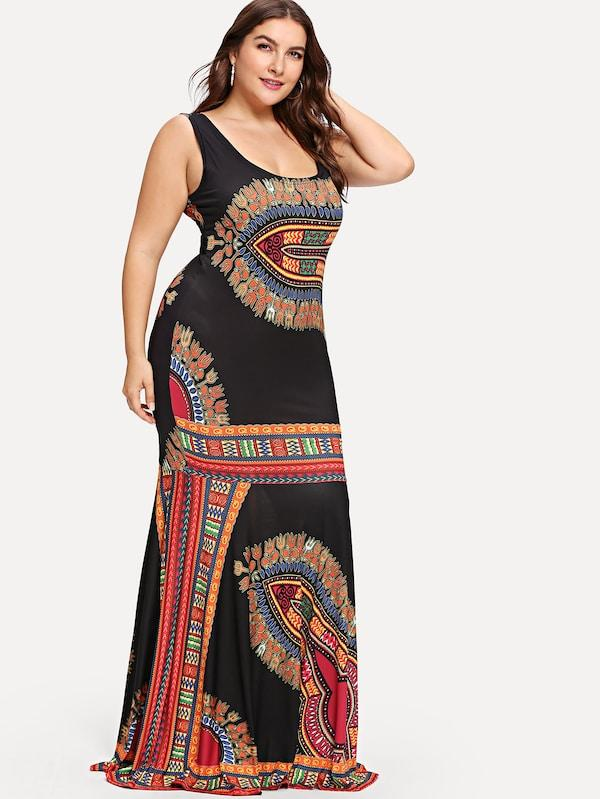 Plus Size Ornate Print Fitted Tank Maxi Dress
