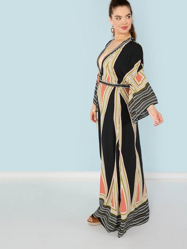 Plus Size Plunging Neck Bell Sleeve Geo Maxi Dress