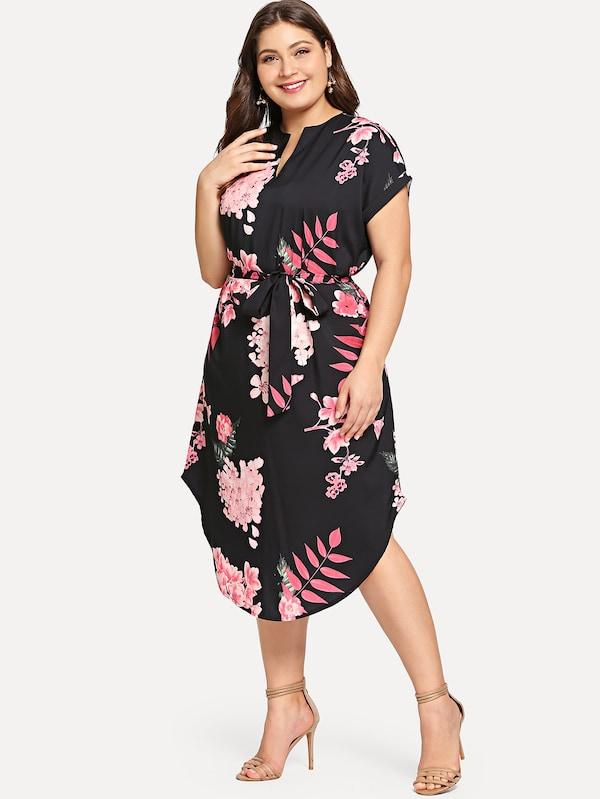 Plus Size Self Tie Waist Curved Hem Dress