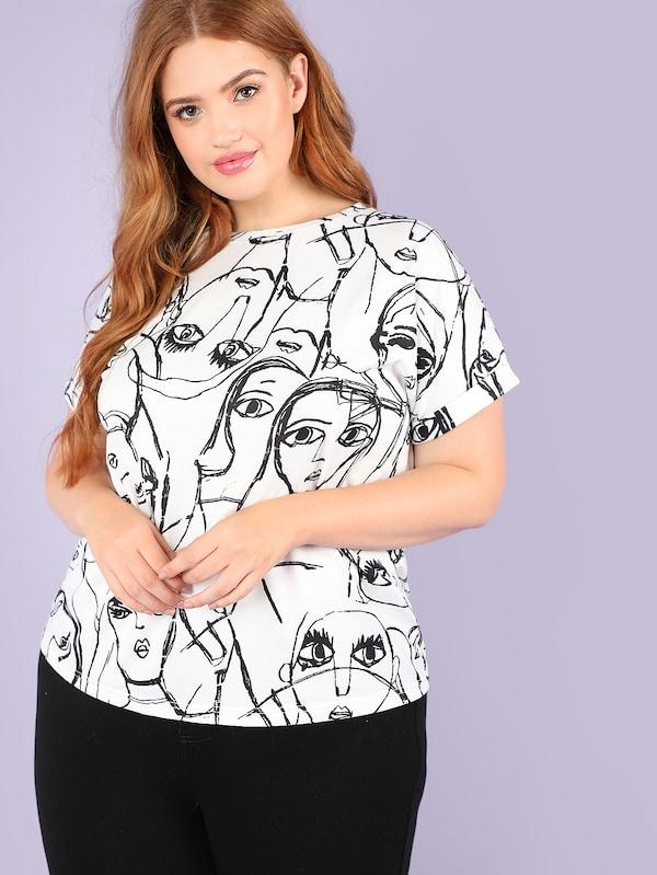Plus Size Allover Figure Print Rolled Up Sleeve Tee
