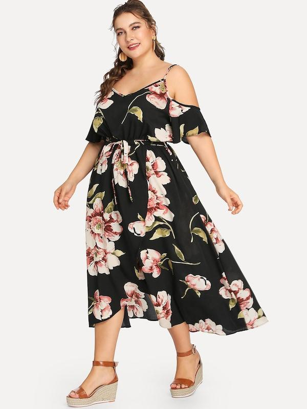 Plus Cold Shoulder Belted Flower Print Dress