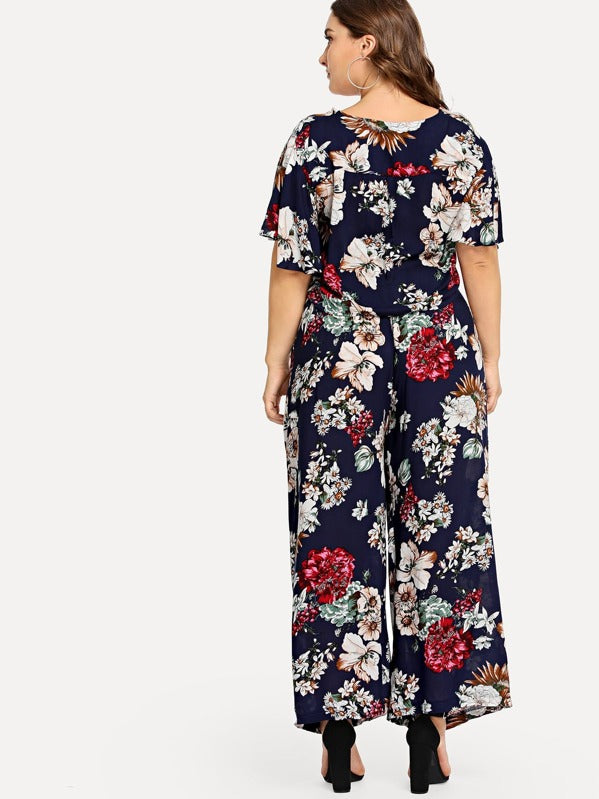 Plus Size Twist Front Botanical Print Crop Top & Pants Set