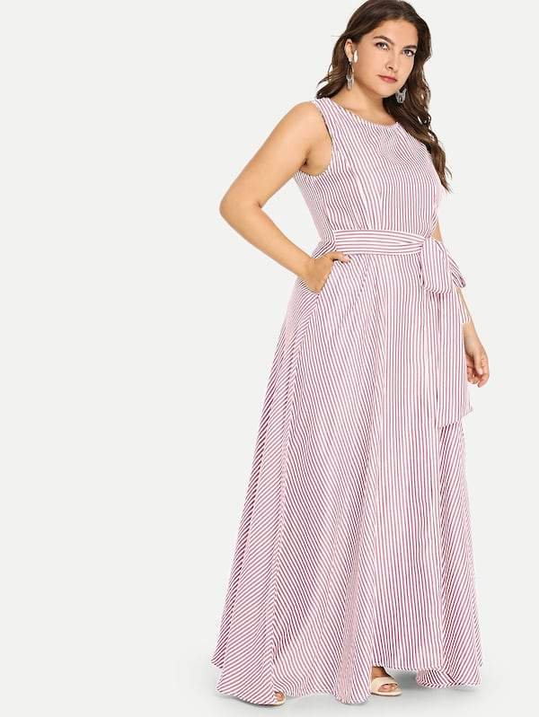 Plus Size Pinstripe Belted Shell Dress