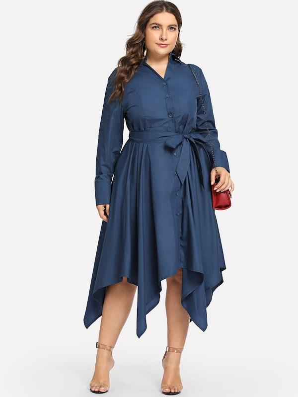 Plus Size Asymmetrical Hem Self Tie Dress