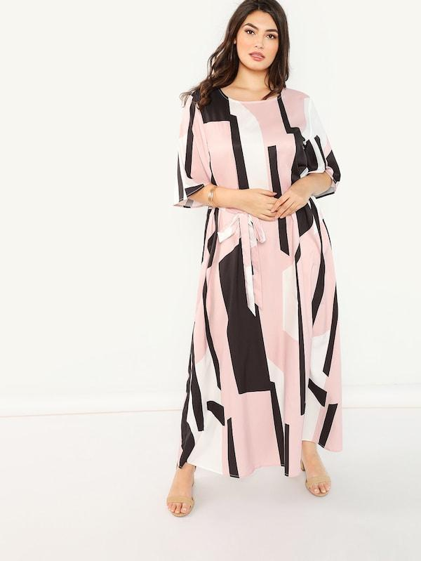 Plus Size Flutter Sleeve Cut And Sew Belted Dress