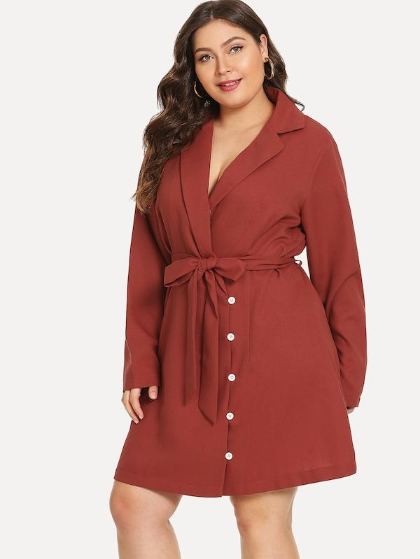 Plus Self Belted Wrap Coat