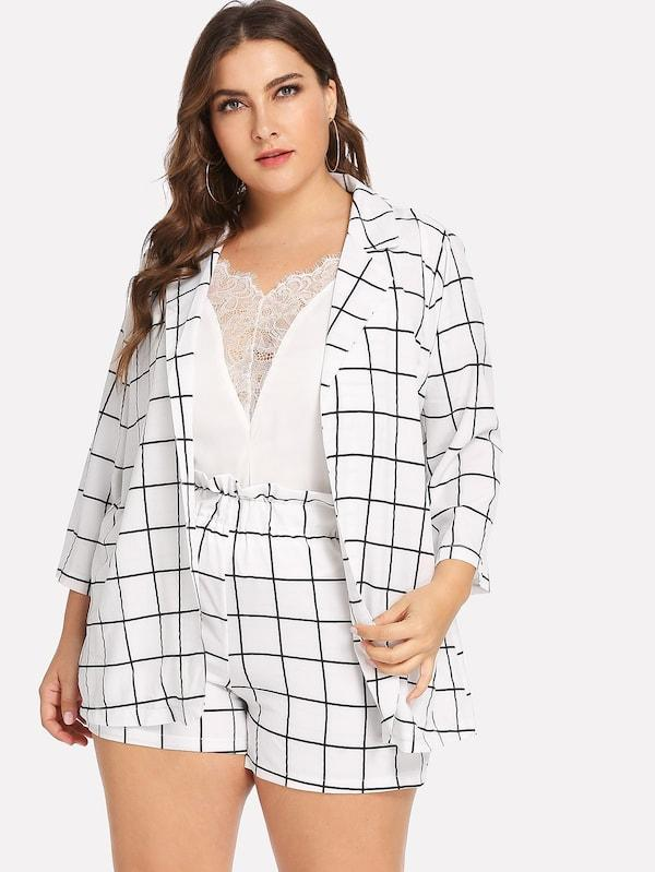 Plus Size Open Front Plaid Blazer With Shorts