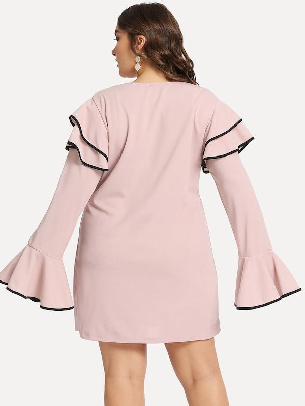 Plus Size Ruffle Detail Bell Sleeve Solid Dress