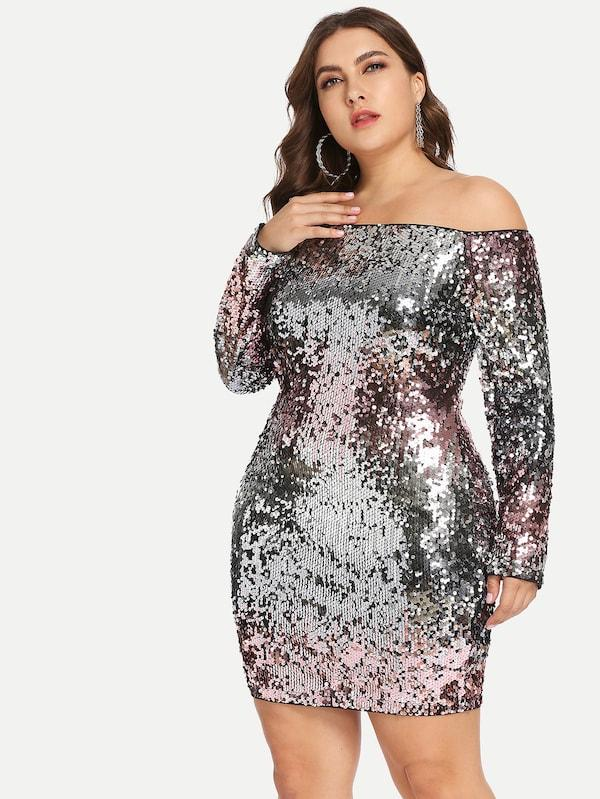 Plus Size Sparkling Sequin Party Dress