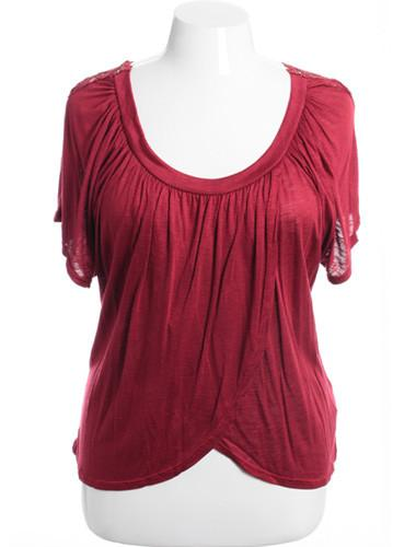 Plus Size See Through Knit Layered Burgundy Blouse