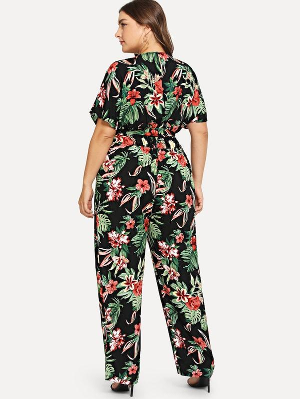 Plus Flower Print V-Neck Jumpsuit