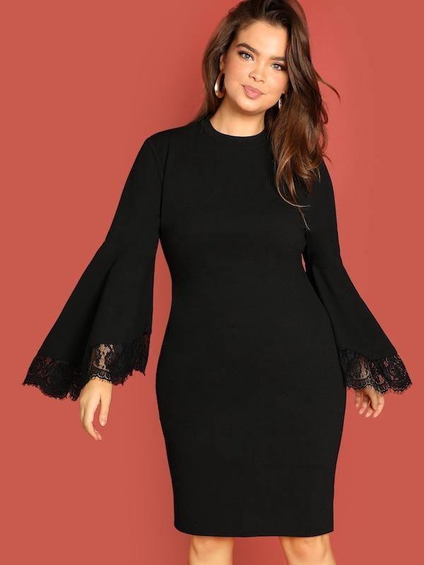 Plus Size Mock-Neck Lace Trim Dress