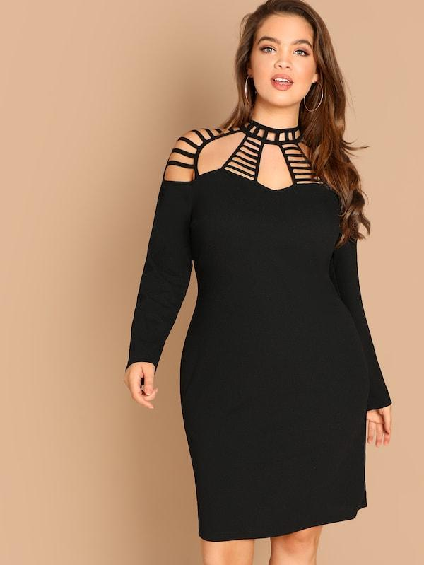 Plus Size Ladder Cut Out Yoke Pencil Dress