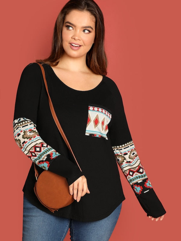 Plus Size Pocket Patched Geo Panel Tee