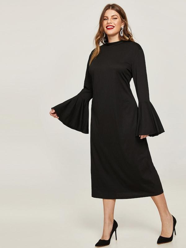 Plus Flounce Sleeve Dress
