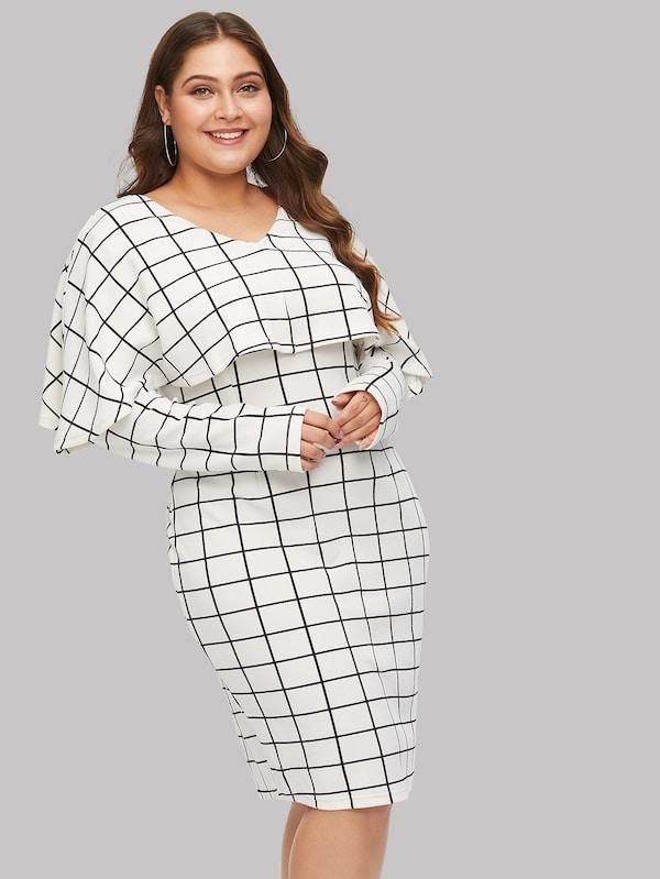 Plus Size Grid Cape Dress