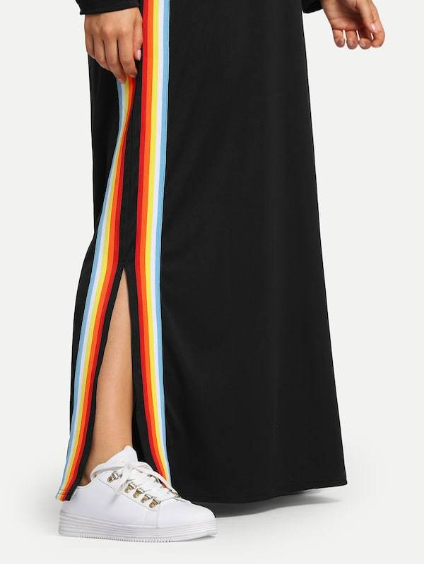 Plus Size Rainbow Striped Tape Sweatshirt Dress