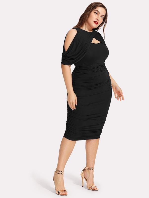 Plus Size Draped Cold Shoulder Open Front Ruched Dress