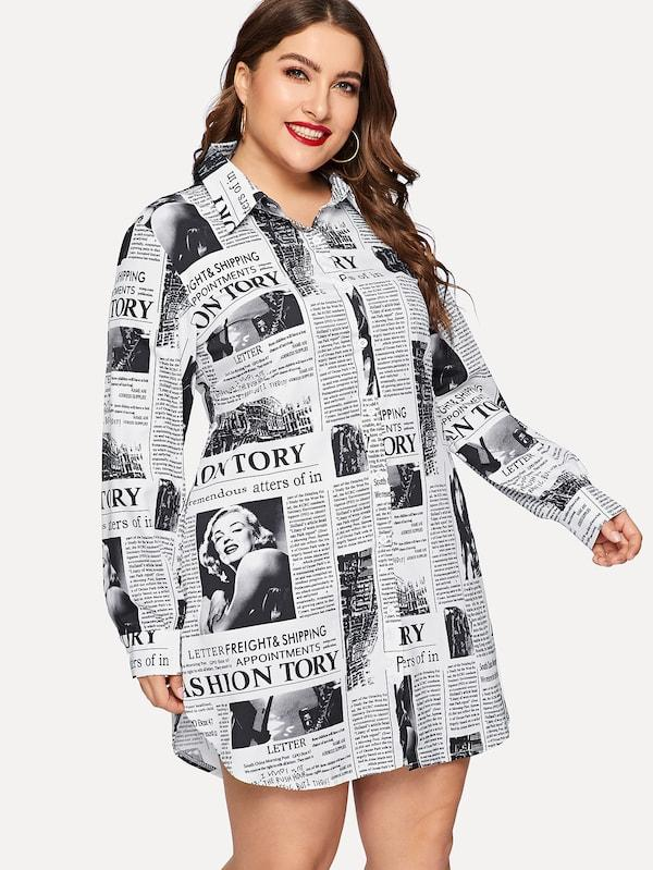 Plus Size Newspaper Print Curved Hem Shirt Dress