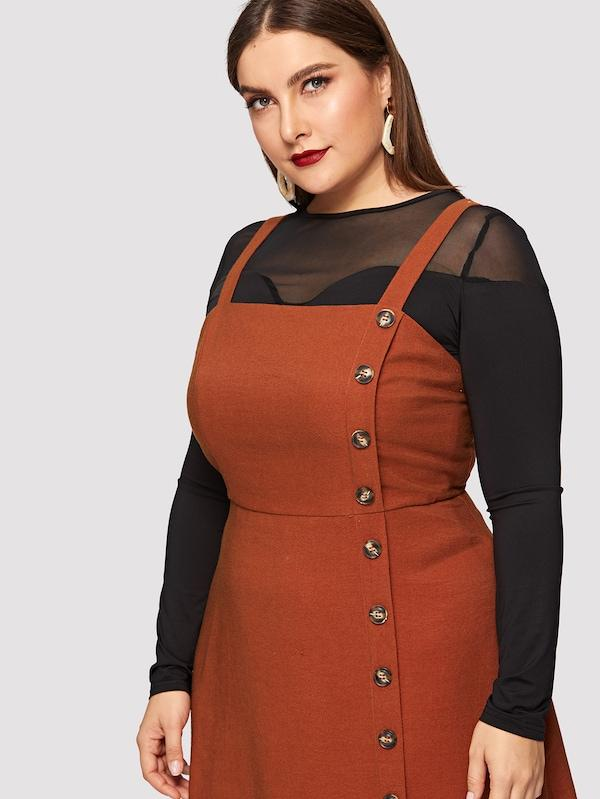 Plus Size Button Front Pinafore Dress – slayboo