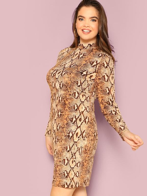 Plus Mock-Neck Snakeskin Pencil Dress