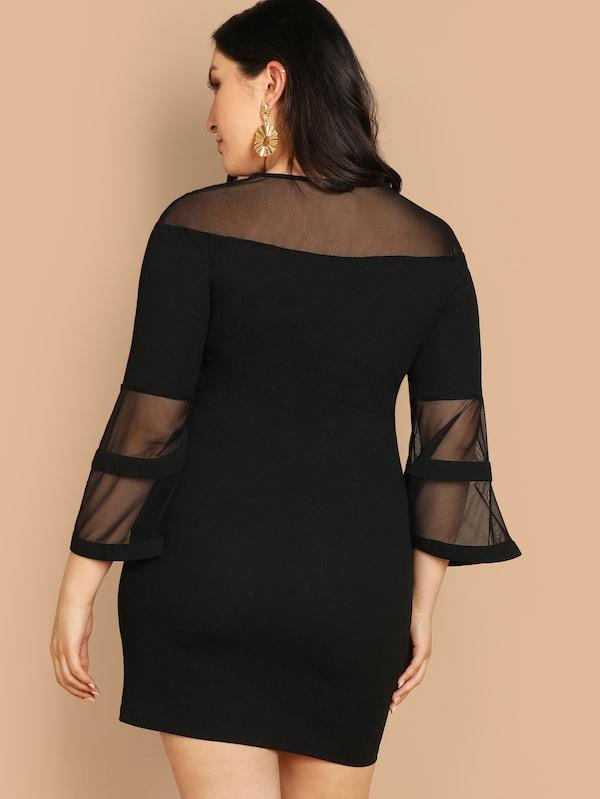 Plus Sheer Mesh Insert Bell Sleeve Pencil Dress