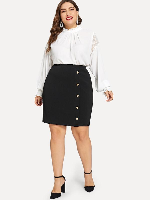 Plus Size Gold Button Detail Textured Pencil Skirt