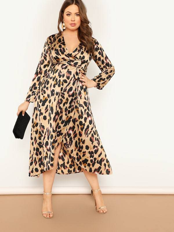 Plus Size Leopard Print Surplice Wrap Dress