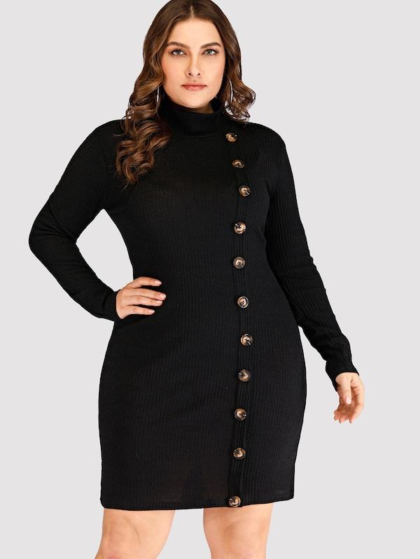 Plus Button Decoration High Neck Sweater Dress